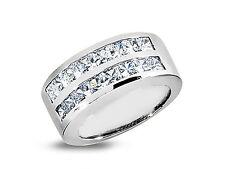 2.08ct Diamond Wedding Band Ring 14k White Gold Princess Cut Channel Set H Si2