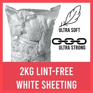 2kg Lint Free White Cotton Cleaning Polishing Cloths Rags Wipers - Bag Of Rags