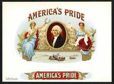 AMERICA'S PRIDE Brand Vintage Inner Cigar Label, George Washington, 600
