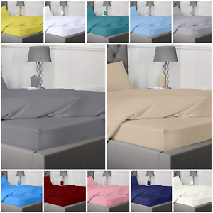 EXTRA DEEP FITTED BED SHEET SET 100% EGYPTIAN COTTON 400TC WITH 2 PILLOWCASES