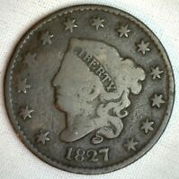 1827 Coronet Large Cent US Copper Type Coin Genuine Penny Good 1c