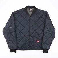 Vintage DICKIES Black Quilted Bomber Worker Jacket Size Mens XL