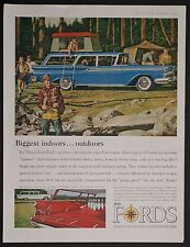 1959 Ford Original Print Ad Ford Station Wagon Family Camping Illustrated
