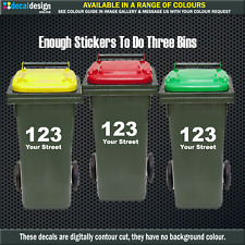 Council Wheelie Rubbish Bin House Number Street Name Stickers x3 SETS #W010