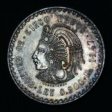 Mexico 1947 5 Pesos Cuauhtemoc Mexican 900 Silver Coin Key Date GEM BU Toned #D5