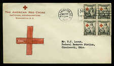 U.S. FDC Block of 4 #702 Planty Unlisted Hand Painted Cachet on Red Cross CC
