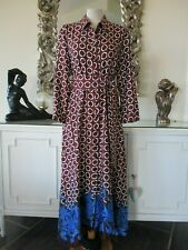 ZARA Burgundy Cobalt Blue Geometric Print Shirt Belted Midi Dress XL 14 NEW