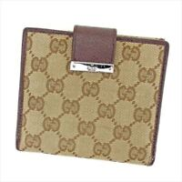 Gucci Wallet Purse G logos Beige Brown Woman unisex Authentic Used T6456