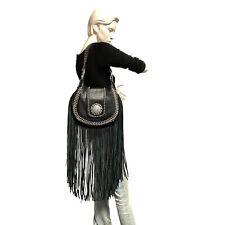 Raviani New Hobo Long Fringe Bag Pebble Grain Black Leather W/Crystal Concho