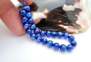23 RARE GEM AAAAA SMOOTH RICH GEM BLUE CATS EYE KYANITE BEADS 53.90cts
