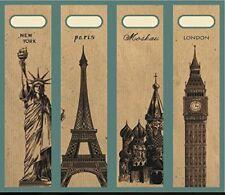 4 Einsteckschilder Ordnerrücken New York Paris Moskau London Ordner Deko IC020