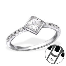 TJS 925 Sterling Silver Midi Ring Square Clear CZ US Size 3.5 Body Jewellery