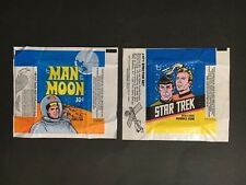 STAR TREK & MAN ON THE MOON TRADING CARD WAX WRAPPER LOT OF 2 FROM TOPPS