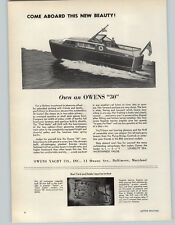 1952 PAPER AD 30' Owens Motor Boat Yacht Baltimore Maryland Two Cabin