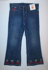 Gymboree Cherry Cute Embroidered Cuff Blue Denim Jeans Girls 3T NEW NWT