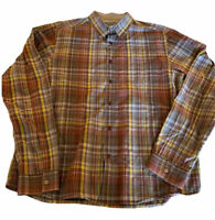 Prana Men's Plaid Button Down Organic Cotton Large Brown Yellow Red Long Sleeve