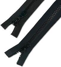 2 Wege Reißverschluß  Plaste schwarz teilbar 8mm breite Krampe Jacken
