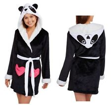 98dae2b1af Body Candy Ladies M Panda Robe Huggable Hooded Luxe Critter Sleepwear Black