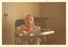Antique Photograph Adorable Little Baby Sitting in High Chair Posing For Camera