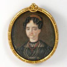 Antique French Empire Portrait Miniature, Woman in Black, Coral Tiara, Jewelry