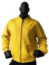 Jakewood Genuine Lambskin Leather Baseball Varsity Jacket Yellow 4XL