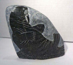 "Canada Inuit Eskimo Art 5¾"" Tall Black Soapstone Walrus Carving Double Sided!"