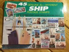 Bulk 20 Packs 45ct Genuine all different Ship Postage Stamps Plus Album Pages