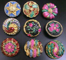 "Collection of 9 Czech ANTIQUE (1920's) Glass Buttons #B342 - 22 mm or 7/8""-RARE"