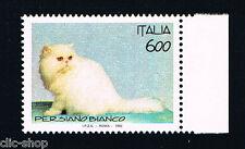 ITALIA 1 FRANCOBOLLO ANIMALI GATTO PERSIANO BIANCO 600 LIRE 1993 nuovo**