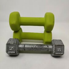 Dumbbell 5LB Set Lot of 3 Cast Iron Weights Hex Neoprene Work Out Home Gym