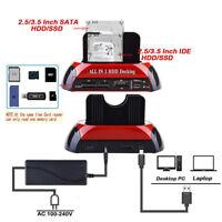 "Dual 2.5"" 3.5"" SATA IDE HDD Docking Station Hard Disk Drive Dock OTB Card Rea LJ"