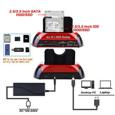 2.5″3.5″ Dual Hard Drive HDD Docking Station USB Dock Card Reader IDE SATA ST