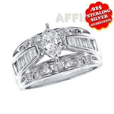 2.00 ct Marquise Cut Engagement & Wedding Ring In 18K White Gold Over