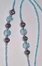 "Light Blue & Silver Bead NIP Eyeglass Sunglass Cord Chain Holder 26"" Beads Read"