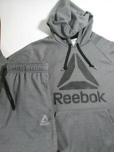 Reebok Crossfit Hoodie & Jogger Pants Dark Gray Big Logo Athletic Mens Sz Large