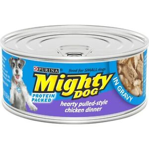 24 Purina Mighty Dog Protein Packed Hearty Pulled Style Chicken Dinner in Gravy