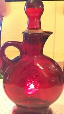 Vintage Red Decanter Glass Bottle With Star Pattern Rare