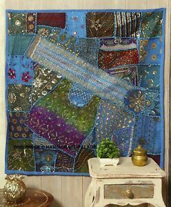 """40"""" TURQUOISE HANDCRAFTED SARI BEADS SEQUIN VINTAGE DECOR WALL HANGING TAPESTRY"""