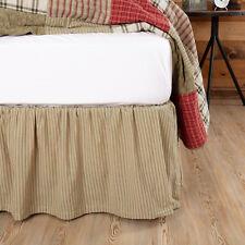 "Vhc Farmhouse Bed Skirt Dust Ruffle King Queen Twin Tan Cotton 16"" Drop"