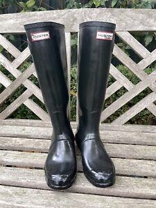 Hunter Boots Original Tall Black Gloss Size 39 Or UK 6