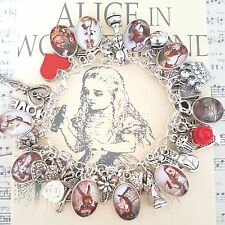 aLiCe In WoNdErLaNd PICTURE CAMEOS RED HEART ROSE TEA KEY SILVER CHARMS BRACELET