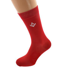 White Masonic With G Design Mens Red Socks Adult Size UK 5-12 - X6N789