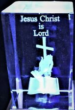3D JESUS CHRIST IS LORD CRYSTAL - CROSS, BIBLE & PRAYING HANDS Laser+4 LIGHT NEW