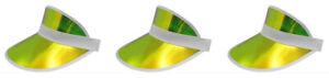 Tennis Beach Iridescent Mirrored Plastic Sun Vegas Golf Casino Visor Hat Qty 3
