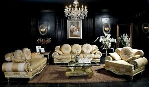 Klassischer 3 Sitzer Couch Sofa Couch Polster Sofas Couchen SB20 Barock Rokoko