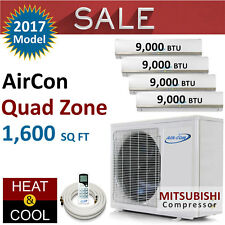 36000 BTU Quad Zone Mini Split Ductless Air Conditioner Heat Pump 9K 9K 9K 9K