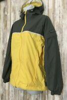COLUMBIA Rain Coat Yellow Hooded Jacket Waterproof Packable Women's Size S