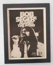 BOB SEGER*Against The Wind*1980*RARE*ORIGINAL*POSTER*AD*FRAMED*FAST WORLD SHIP