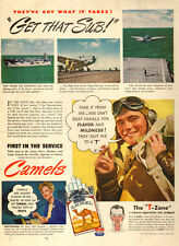 1944 WW2 era AD  CAMEL Cigarettes  Escort Carrier Launches Planes  T Zone 040315