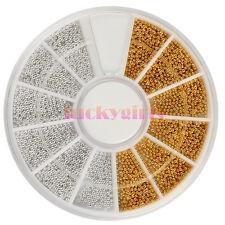 2400Pcs SILVER GOLD Nail Art Mini Beads Balls Pearls Caviar 3D DIY Decorations